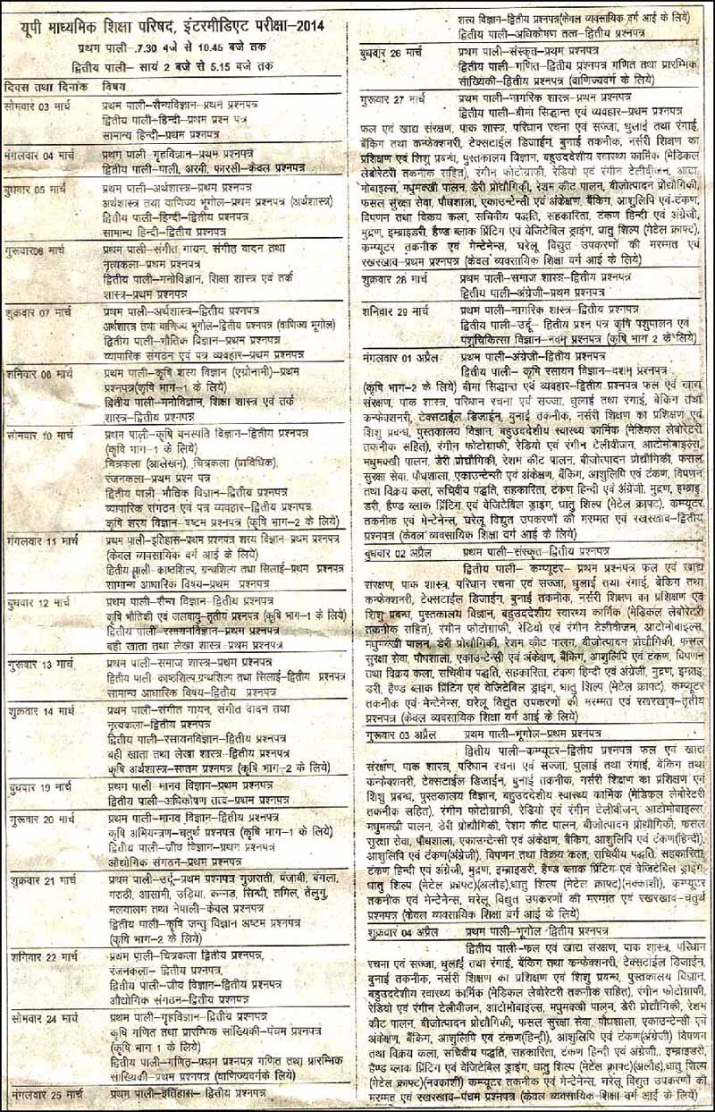 UP Board Class 12th Exam Date Sheet 2014