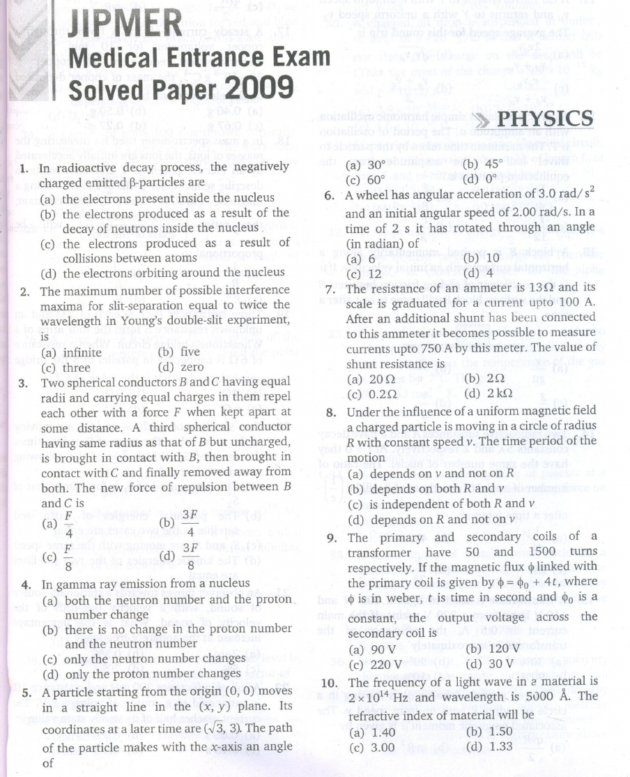 JIPMER 2009 Question Paper