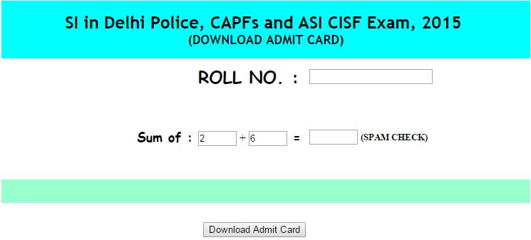 SSC Admit Card 2015