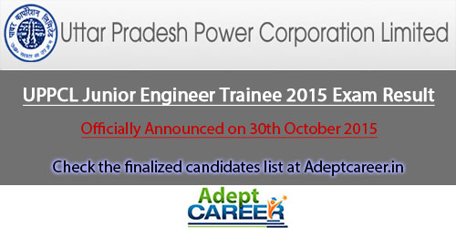UPPCL Junior Engineer Trainee 2015 Result List