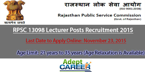 RPSC Lecturer Posts Recruitment 2015