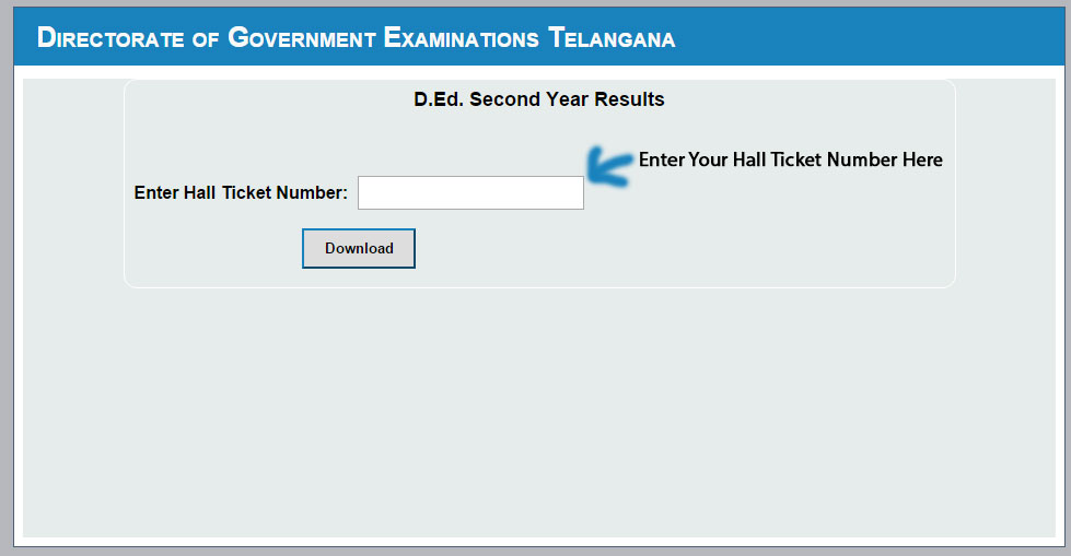 Telangana TS D.Ed 2nd Year 2015 Result Page