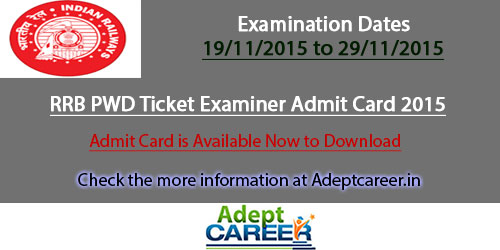 RRB PWD 2015 Exam Admit Card