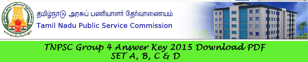 TNPSC Group 4 2015th Exam Answer Key